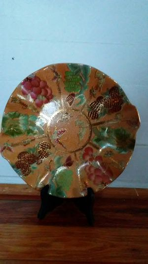 Orange Decorative Plate With Scaly Rough Texture for Sale in Lilburn, GA