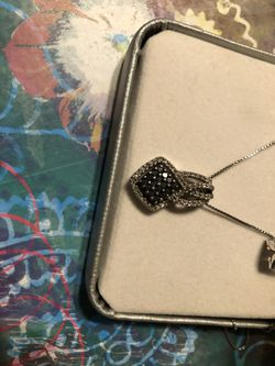 Princess cut diamond necklace and earrings 14k for Sale in Woodbridge,  VA