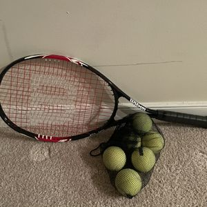 Tennis racquet & 6 tennis balls for Sale in Arlington, VA