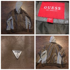 Guess Brown Jacket w/ Hoodie Large Like New for Sale in Houston, TX