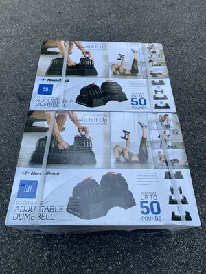 New Adjustable Dumbbell Set - NordicTrack 50lb Adjustable Dumbbells With Storage Tray for Sale in Medway, MA