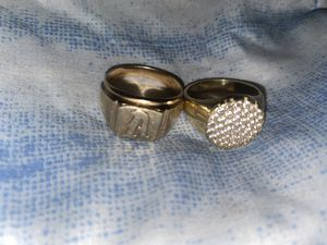 2 men's solid 10k rings letter A ring weighs 7 grams simulated diamond one weighs 4.3 grams size 10 and 101/2 for Sale in Bellflower, CA