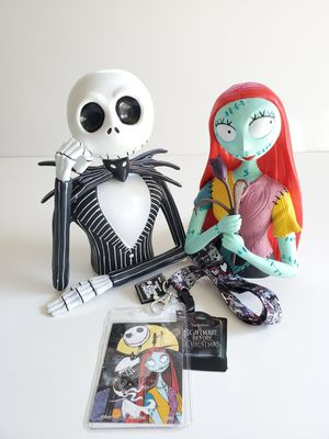 The Nightmare Before Christmas Jack and Sally Bust Coin Piggy Bank with Free Lanyard for Sale in Bellflower, CA