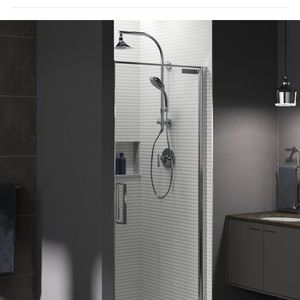 KOHLER Torsion 36 in. W x 76.75 in. H Frameless Pivot Shower Door in Bright Polished Silver with Handle Brand New Regular Price This Doors $677 And I for Sale in Upland, CA