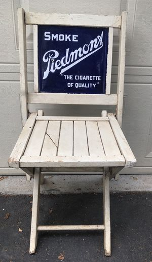 Antique Piedmont Cigarette Double Sided Porcelain Advertising Sign Wood Folding Chair. for Sale in Atlanta, GA