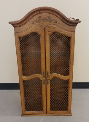 Small Country Chic Wire Door Glass Shelf Lighted Hutch Cabinet for Sale in Seattle, WA