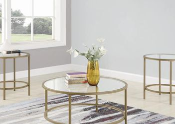3-Piece Round Glass Tops Set with Coffee Table, 2 End Tables for Sale in Arcadia,  CA