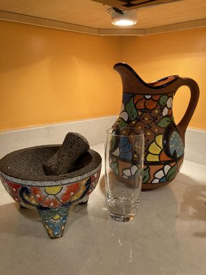 NEW AUTHENTIC MEXICAN MORTAR AND PESTLE HAND CARVED LAVA STONE SPICE GRINDER and PITCHER for Sale in Arlington, VA