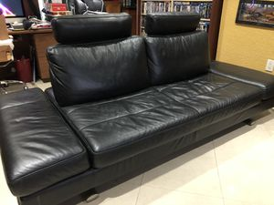 Modern Black All Leather Italian Sofa/Couch Bed for Sale in Medley, FL