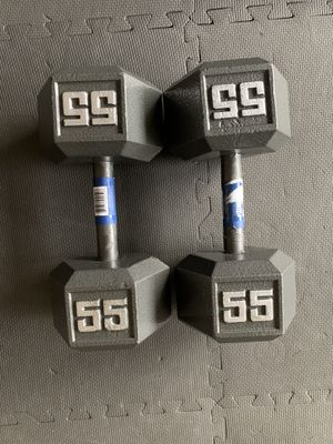 Brand New 55lb hex dumbbell weights! (Pair) for Sale in Tacoma, WA