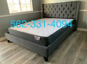 🙊 New Queen Gray Tufted Bed With Orthopedic Supreme Mattress Included 🙊 for Sale in Fresno, CA