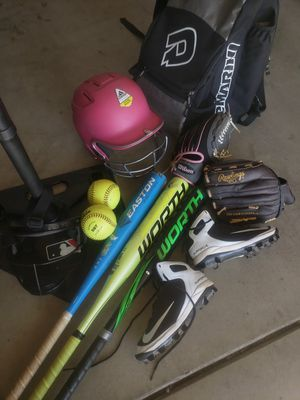 Softball equipment ages from 8/12 selling ALL TOGETHER for Sale in Modesto, CA