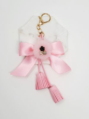 Tassel and bow keychain bag charm - pink for Sale in Baldwin Park, CA