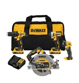 DEWALT XR 4-Tool 20-Volt Max Brushless Power Tool Combo Kit with Soft Case (Charger Included and 2-Batteries Included) for Sale in Cypress, TX