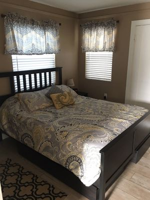 Ikea bed with memory foam mattress and under the bed drawers for Sale in Carlsbad, CA