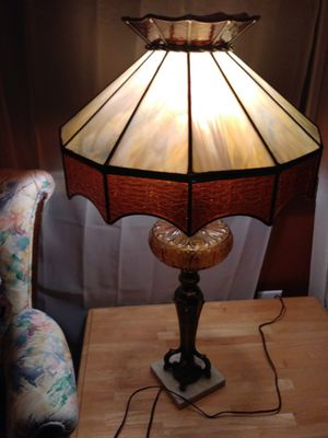 Antique/Vintage Tiffany Style/Amber Glass Globe/Brass/Marble Base Table Lamp for Sale in St. Louis, MO
