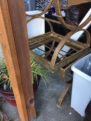 Two end tables with glass tops glass is still good for Sale in Darrington, WA