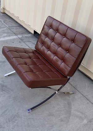 NEW Leather Brown Grey or Blue Barcelona Style Chair 30x29x35 Inch Tall Classic Mid Century Modern Lounge for Sale in Los Angeles, CA