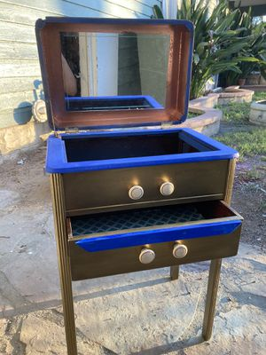 Small stand up jewelry box w/ metallic all around acrylic paint and cobalt hue detail. Mirror and lined drawer. for Sale in Riverside, CA