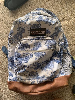 Jansport Trans blue and white with leather accent backpack for Sale in Phoenix, AZ