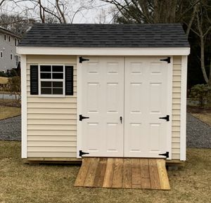 New 8' x 10' Almond Vinyl A Frame Shed with Black Shutters and Shingles for Sale in East Douglas, MA