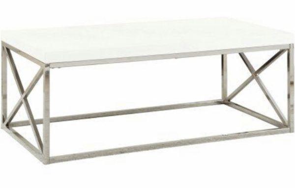 Monarch White High Gloss Modern Coffee Table with Chrome legs