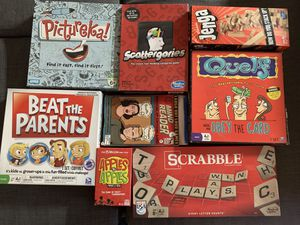Board games - Apples to Apples, Scrabble, Scattergories, Jenga and more for Sale in San Diego, CA
