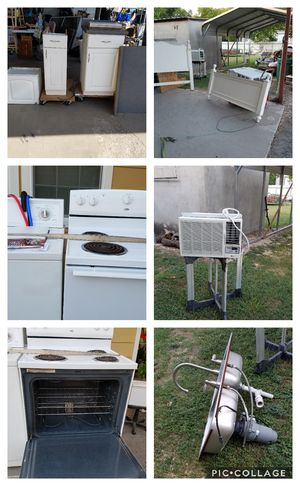 Appliances, stove elect $75, washer $75, dryer $75. Bed(queen head & footboard & frame $50, kitchen sink SS double w/ faucet $50, kit. Cabinets $100 for Sale in Kirby, TX