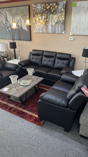 NEW Black Bonded Leather Sofa and Love Seat Available TODAY A6RB3 for Sale in Euless, TX