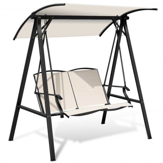 Outdoor Porch Steel swing with Canopy