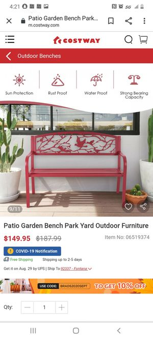 Patio Garden Bench Park Yard Outdoor Furniture for Sale in Bakersfield, CA