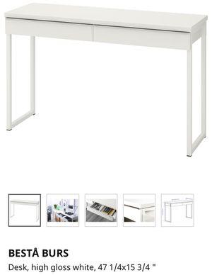 Besta burs ikea white high gloss desk for Sale in Chicago, IL