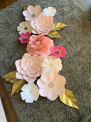 Paper Flowers events parties baby shower decor for Sale in Lakewood, CA