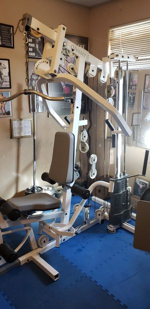 I have for sale a total home gym with Leg Press in great shape. This TuffStuff Odyssey 5 home gym is equipped to do a total body work out for Sale in Bloomington, CA