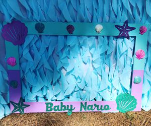 Baby gender reveal party items decoration under the sea purple and blue pink photo frame cake cupcake topper for Sale in South Gate, CA