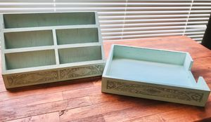 Hallmark Solid Wood Distressed Desk Set Tray and Organizer Etch Detail for Sale in Houston, TX