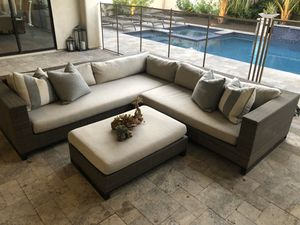RESTORATION HARDWARE OUTDOOR TIBURON LEFT-ARM CORNER SECTIONAL WITH COFFEE TABLE OTTOMAN *PERENNIALS for Sale in Phoenix, AZ