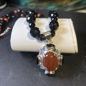 "Genuine carnelian and onyx gemstone necklace 925 sterling silver 18"" for Sale in Manassas, VA"