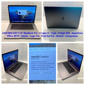 "Like New 2017 15"" Apple MacBook Pro Touchbar, 16gb, 512gb, Applecare+, Office 2019, Logic, Final Cut for Sale in Nashville, TN"