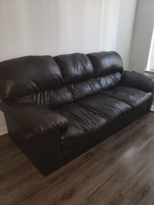 Black Leather Couch - Good Condition for Sale in Laurel, MD
