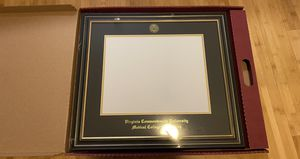FRAMING SUCCESS PRESTIGE DIPLOMA FRAME DOUBLE MATTED IN SATIN BLACK FINISH, GOLD TRIM for Sale in Richmond, VA