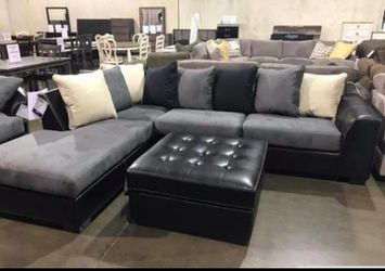 Ashley Gray and Black Sectional | In Stock | Delivery Available for Sale in Irving,  TX