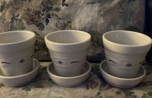 Longaberger Pottery Set of 3 Flower Pots NEW for Sale in Tarentum, PA