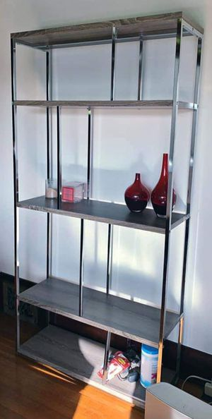 NEW High Polish Metal/Wood Designer Display Bookcase Bookshelves Curio Stand Unit for Sale in Monterey Park, CA