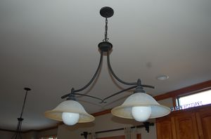 Bellacor matching Kitchen island and pendant light set for Sale in Batavia, IL