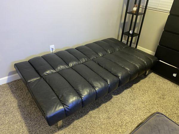 Leather Black Futon