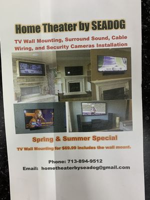 Tv mounting speakers camera for Sale in Houston, TX