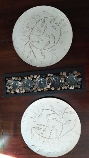 Two charger decor plates and a candle holder for Sale in Fresno, CA