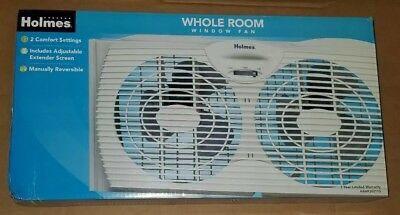 Holmes Twin Dual Blade Two Speed Whole Room Window Fan - White