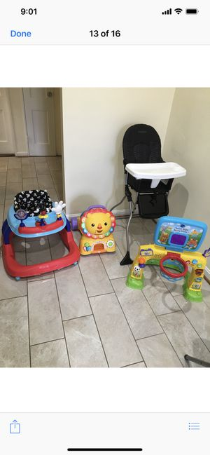 Kids car seat toys walker and high chair for Sale in Wheaton, MD